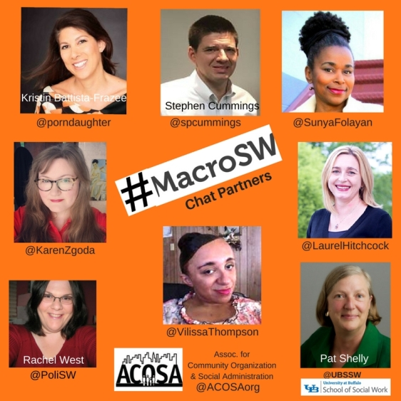 "Square with orange background. In middle is the sign: ""MacroSW Chat Partners."" This is circled by photos of 8 individuals showing head and neck. One logo ay bottom is that of a nonprofit NGO called ACOSA. Individuals (from top left then clockwise: Kristin Battista-Frazee, Stephen Cummings, Sunya Folayan, LAurel Hitchcock, Pat Shelly of Univ. at Buffalo School of Social Work, Vilissa Thompson, RAchel West, and Karen Zgoda."