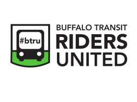logo of Buffalo Transit Riders United, with image of a bus and hashtag #btru on its front window